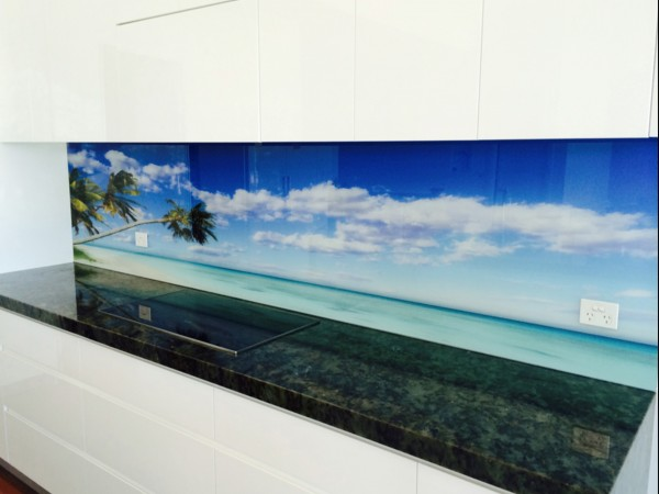 Printed Glass Beach Splashback