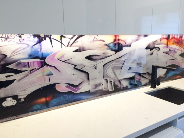 Graffiti laundry splash back