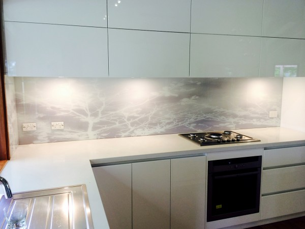 Soft trees printed splash back