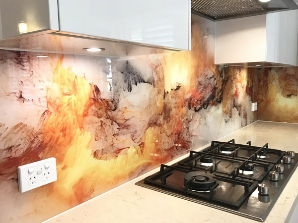 Printed glass splash back